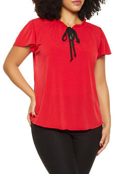 Plus Size Ruffled Contrast Tie Neck Blouse - 9428020621318