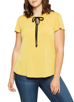 Plus Size Ruffled Tie Neck Blouse - 9428020621318
