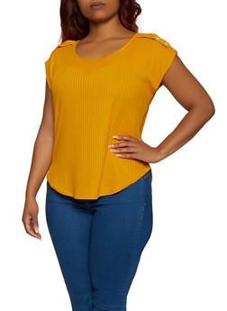 Plus Size Tabbed Rib Knit Top - 9428020622025