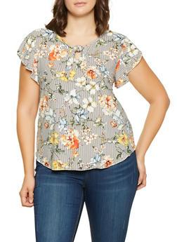 Plus Size Striped Floral Top - 9428020622205
