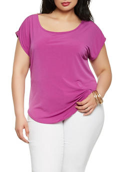 Plus Size Zip Shoulder Top - 9428020622625