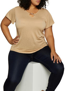 Plus Size Metallic Keyhole Top - 9428020622649
