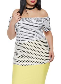 Plus Size Smocked Polka Dot Top - 9428020622656