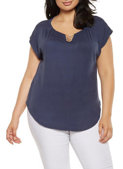 Plus Size Metallic Neck Detail Top - 9428020624425