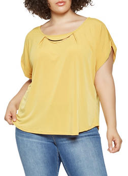 Plus Size Solid Metallic Detail Top - 9428020624456