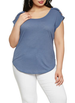 Plus Size Textured Knit Button Detail Top - 9428020625202