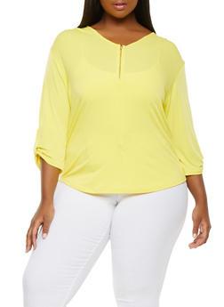 Plus Size Zip Front Top - 9428020625236