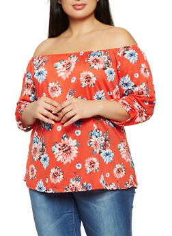 Plus Size Floral Off the Shoulder Top - 9428020625626