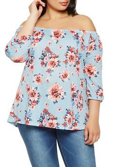 Plus Size Floral Off the Shoulder Top - 9428020625626
