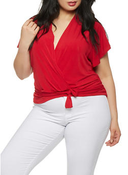 Plus Size Solid Faux Wrap Top - 9428020625922