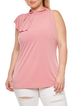 Plus Size Side Ruffle Sleeveless Top - 9428020626236