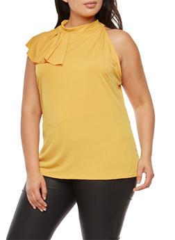 Plus Size Side Ruffle Sleeveless Top - 9428020626236