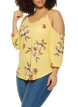 Plus Size Floral Cold Shoulder Top - 9428020626322