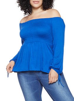 Plus Size Off the Shoulder Tie Sleeve Top - 9428020626937