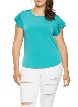 Plus Size Tiered Flutter Sleeve Blouse - 9428020627134