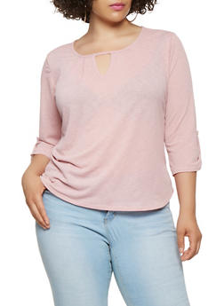 Plus Size Tabbed Sleeve Keyhole Top - 9428020627778