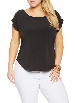 Plus Size Shoulder Button Detail Top - 9428020627814