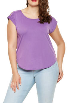 Plus Size Shoulder Button Detail Top - 9428020627814