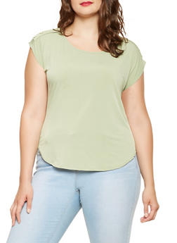 Plus Size Shoulder Button Detail Top - 9428020628202
