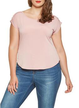Plus Size Shoulder Button Detail Top - 9428020628202