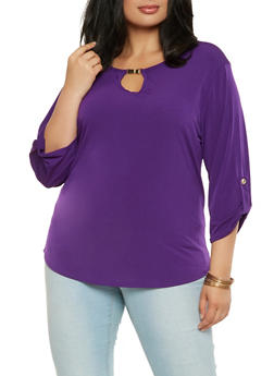 Plus Size Keyhole Neck Top - 9428020628219