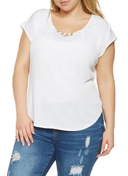 Plus Size Jewel Accent Top - 9428020628273