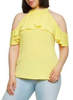 Plus Size Ruffle Cold Shoulder Top - 9428020628846