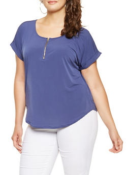 Plus Size Zip Neck Top - 9428020629231