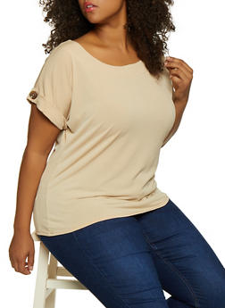 Plus Size Button Cuffed Top - 9428020629372