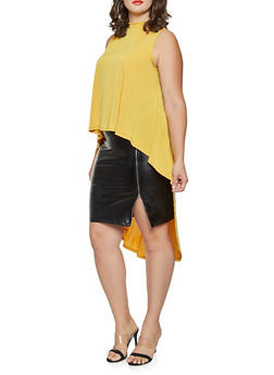 Plus Size Mock Neck High Low Top - 9428020629389