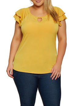 Plus Size Tiered Cap Sleeve Keyhole Top - 9428020629407