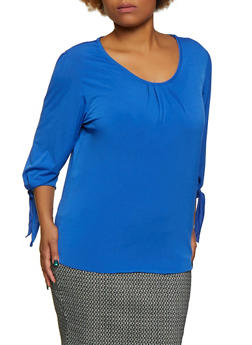 Plus Size Tie Sleeve Stretch Top - 9428020629567