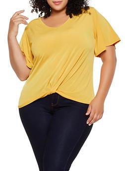 Plus Size Twist Front V Neck Top - 9428020629655