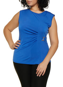 Plus Size Ruched Metallic Detail Top - 9428020629678