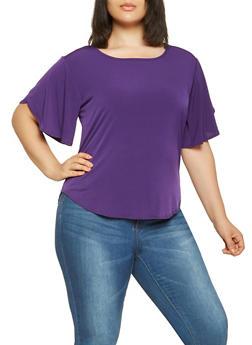 Plus Size Split Sleeve Top - 9428020629735