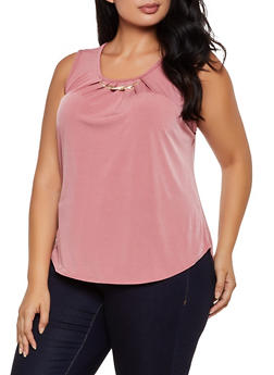 Plus Size Sleeveless Metallic Detail Top - 9428020629968