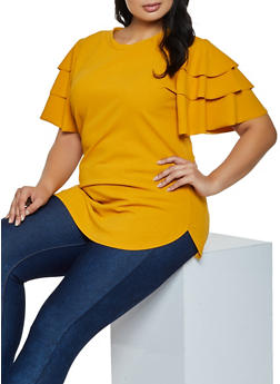 Plus Size Tiered Sleeve Crepe Knit Top - 9428062120086