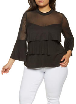Plus Size Mesh Yoke Tiered Top - 9428062122050