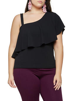 Plus Size Ruffled One Shoulder Top - 9428062124432