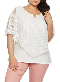 Plus Size Lace Overlay Top - 9428062701570