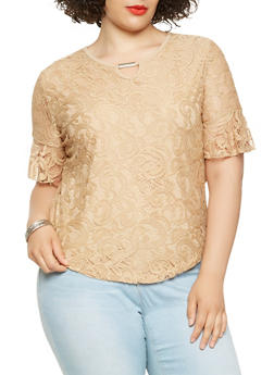 Plus Size Bell Sleeve Lace Top - 9428062702250