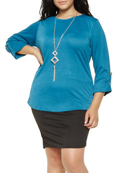 Plus Size Tabbed Sleeve Top - 9428062702290
