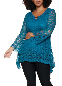 Plus Size Sharkbite Hem Lace Top - 9428062702297