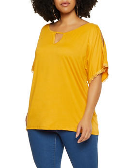 Plus Size Cut Out Sleeve Tee - 9428062702795