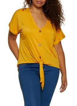 Plus Size Button Tie Front Top   9428075172039 - 9428075172039