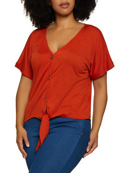 Plus Size Button Tie Front Top | 9428075172039 - 9428075172039