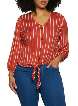 Plus Size Striped Button Front Top - 9429020622273
