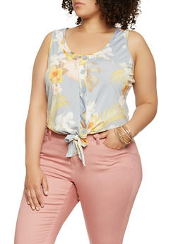 Plus Size Printed Tie Front Tank Top - 9429020622333