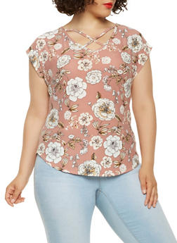 Plus Size Caged Floral Top - 9429020623325
