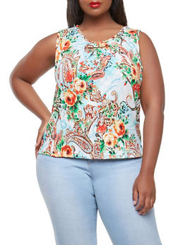 Plus Size Paisley Metallic Detail Top - 9429020623505